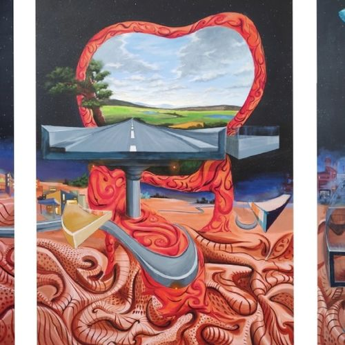 terracotta life, 180 x 84 inch, ramachandra l,180x84inch,canvas,paintings,abstract paintings,figurative paintings,folk art paintings,cityscape paintings,modern art paintings,multi piece paintings,conceptual paintings,religious paintings,still life paintings,nature paintings | scenery paintings,expressionism paintings,photorealism paintings,photorealism,realism paintings,surrealism paintings,contemporary paintings,realistic paintings,paintings for dining room,paintings for living room,paintings for office,paintings for hotel,paintings for hospital,paintings for dining room,paintings for living room,paintings for office,paintings for hotel,paintings for hospital,acrylic color,GAL03421247358
