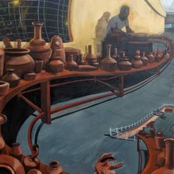 terracotta pots room, 48 x 60 inch, ramachandra l,48x60inch,canvas,paintings,abstract paintings,figurative paintings,folk art paintings,cityscape paintings,landscape paintings,modern art paintings,conceptual paintings,religious paintings,still life paintings,nature paintings | scenery paintings,abstract expressionism paintings,cubism paintings,impressionist paintings,photorealism paintings,pop art paintings,realism paintings,surrealism paintings,realistic paintings,love paintings,phad painting,paintings for dining room,paintings for living room,paintings for bedroom,paintings for office,paintings for hotel,paintings for school,paintings for hospital,paintings for dining room,paintings for living room,paintings for bedroom,paintings for office,paintings for hotel,paintings for school,paintings for hospital,acrylic color,GAL03421247364