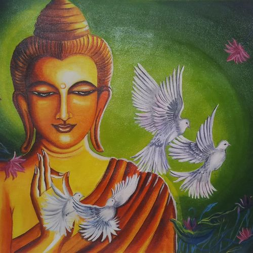 lord buddha with birds, 18 x 24 inch, sandhya kumari,18x24inch,canvas,paintings,buddha paintings,figurative paintings,flower paintings,landscape paintings,conceptual paintings,religious paintings,nature paintings | scenery paintings,illustration paintings,photorealism paintings,love paintings,water fountain paintings,paintings for dining room,paintings for living room,paintings for bedroom,paintings for office,paintings for kids room,paintings for hotel,paintings for kitchen,paintings for school,paintings for hospital,acrylic color,GAL0365947378