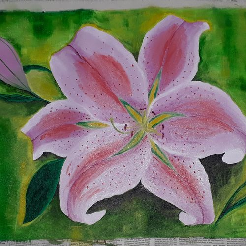oriental lily , 16 x 28 inch, molshree ambastha,16x28inch,canvas,paintings,flower paintings,nature paintings | scenery paintings,paintings for dining room,paintings for living room,paintings for bedroom,paintings for office,paintings for bathroom,paintings for kids room,paintings for hotel,paintings for kitchen,paintings for school,paintings for hospital,oil color,GAL03359247387