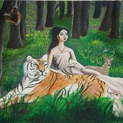 lady in jungle, 12 x 16 inch, rupali pattnaik,12x16inch,canvas board,paintings,wildlife paintings,acrylic color,GAL03411847393