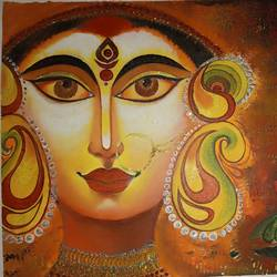 durga maa, 12 x 16 inch, rupali pattnaik,12x16inch,canvas,religious paintings,acrylic color,poster color,GAL03411847394