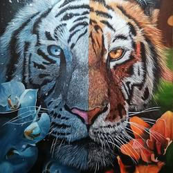blizzard and blaze, 36 x 48 inch, ahmed kamili,36x48inch,canvas,abstract paintings,wildlife paintings,portrait paintings,nature paintings   scenery paintings,animal paintings,realistic paintings,acrylic color,oil color,GAL03409547398