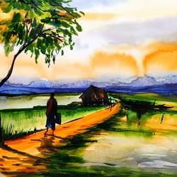 indian village, 8 x 12 inch, shankhadeep  mondal,8x12inch,canson paper,paintings,landscape paintings,paintings for dining room,paintings for living room,paintings for bedroom,paintings for office,paintings for bathroom,paintings for kids room,paintings for hotel,paintings for kitchen,paintings for school,paintings for hospital,watercolor,GAL01403047414