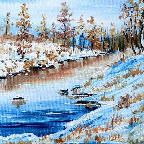 snowy day, 10 x 15 inch, shankhadeep  mondal,10x15inch,canvas,paintings,landscape paintings,paintings for dining room,paintings for living room,paintings for bedroom,paintings for office,paintings for bathroom,paintings for kids room,paintings for hotel,paintings for kitchen,paintings for school,paintings for hospital,oil color,GAL01403047419