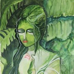green beauty, 11 x 16 inch, sanju dubey,11x16inch,brustro watercolor paper,paintings,abstract paintings,conceptual paintings,portrait paintings,portraiture,paintings for dining room,paintings for living room,watercolor,GAL03382847423