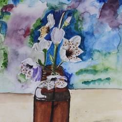 nature in bottle, 12 x 17 inch, sanju dubey,12x17inch,brustro watercolor paper,paintings,portrait paintings,nature paintings | scenery paintings,paintings for dining room,paintings for living room,paintings for bedroom,watercolor,GAL03382847428