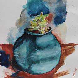 clay pot, 8 x 12 inch, sanju dubey,8x12inch,brustro watercolor paper,paintings,portrait paintings,nature paintings | scenery paintings,paintings for dining room,watercolor,GAL03382847429