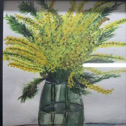 flower in glass water, 8 x 12 inch, sanju dubey,8x12inch,brustro watercolor paper,paintings,flower paintings,still life paintings,portrait paintings,paintings for dining room,watercolor,GAL03382847431
