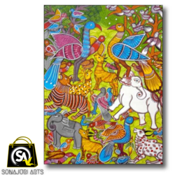 unity in diversity, 60 x 30 inch, sonajuri  arts,60x30inch,thick paper,paintings,folk art paintings,natural color,GAL03437047515