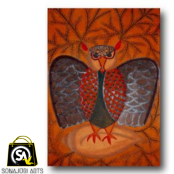 owl perching on a conch shell, 30 x 48 inch, sonajuri  arts,30x48inch,thick paper,paintings,folk art paintings,natural color,GAL03437047523