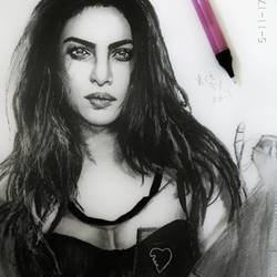 priyanka chopra, 12 x 28 inch, adil khwaja,portrait drawings,paintings for bedroom,portrait drawings,paper,pencil color,12x28inch,GAL016864755