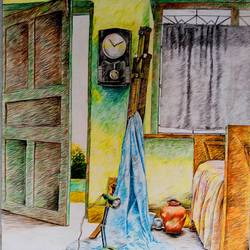 artist room, 24 x 30 inch, chinmoy pandit,24x30inch,cartridge paper,paintings,modern art paintings,still life paintings,realism paintings,contemporary paintings,paintings for dining room,paintings for living room,paintings for bedroom,paintings for office,paintings for kids room,paintings for hotel,paintings for kitchen,paintings for school,paintings for hospital,mixed media,GAL094647623