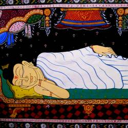 buddha in nirvana posture, 40 x 24 inch, k. srinivas rao,buddha paintings,paintings for living room,canvas,acrylic color,40x24inch,religious,peace,meditation,meditating,gautam,goutam,buddha,sleeping,peaceful,white,GAL016914763
