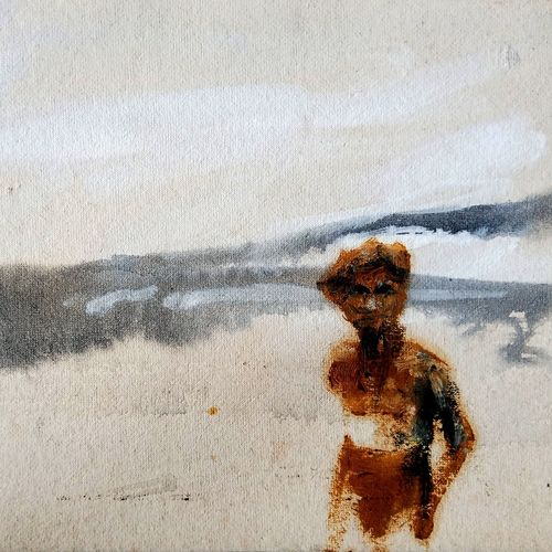 a man with landscape, 12 x 9 inch, chinmoy pandit,12x9inch,handmade paper,paintings,figurative paintings,landscape paintings,modern art paintings,paintings for dining room,paintings for living room,paintings for bedroom,paintings for office,paintings for kids room,paintings for hotel,paintings for kitchen,paintings for school,paintings for hospital,acrylic color,oil color,GAL094647673