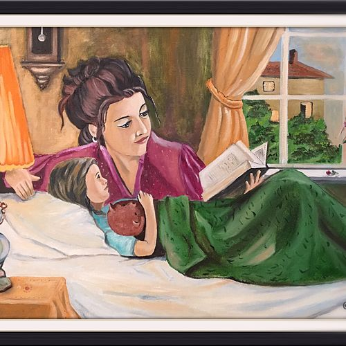 mother n daughter, 24 x 18 inch, subhash gijare,figurative paintings,paintings for living room,canvas,,24x18inch,GAL01384769
