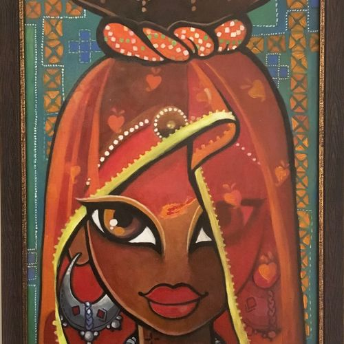 banni , 14 x 20 inch, tavishi kanoria,figurative paintings,paintings for living room,canvas,mixed media,14x20inch,GAL013964771
