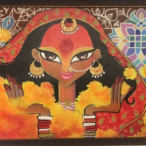 drapuadi - the bride , 29 x 19 inch, tavishi kanoria,figurative paintings,paintings for living room,canvas,,29x19inch,GAL013964773