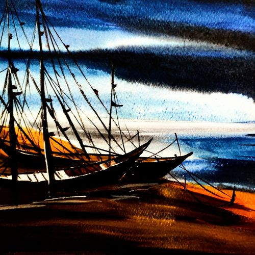 boat series 2, 8 x 12 inch, shankhadeep  mondal,8x12inch,thick paper,landscape paintings,modern art paintings,conceptual paintings,paintings for dining room,paintings for living room,paintings for bedroom,paintings for office,paintings for kids room,paintings for hotel,paintings for kitchen,paintings for school,paintings for hospital,conceptual drawings,fine art drawings,impressionist drawings,modern drawings,paintings for dining room,paintings for living room,paintings for bedroom,paintings for office,paintings for kids room,paintings for hotel,paintings for kitchen,paintings for school,paintings for hospital,watercolor,GAL01403047738