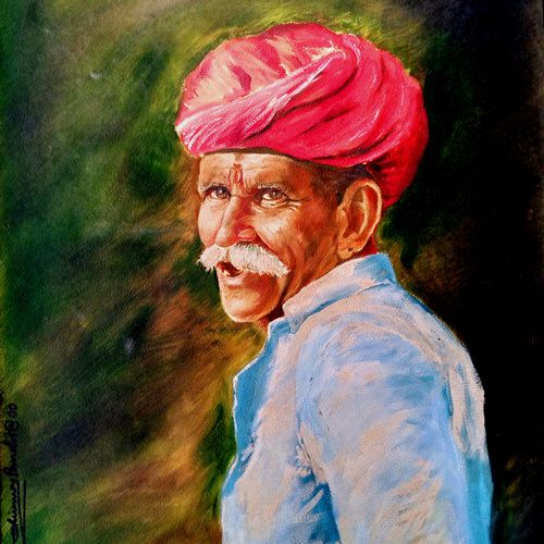 a rajasthani man, 24 x 30 inch, chinmoy pandit,24x30inch,oil sheet,paintings,figurative paintings,modern art paintings,realism paintings,contemporary paintings,paintings for dining room,paintings for living room,paintings for bedroom,paintings for office,paintings for bathroom,paintings for kids room,paintings for hotel,paintings for kitchen,paintings for school,paintings for hospital,oil color,GAL094647743