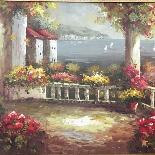 mediterranean heaven , 30 x 20 inch, tavishi kanoria,landscape paintings,paintings for bedroom,nature paintings,horizontal,canvas,oil,30x20inch,GAL013964775Nature,environment,Beauty,scenery,greenery