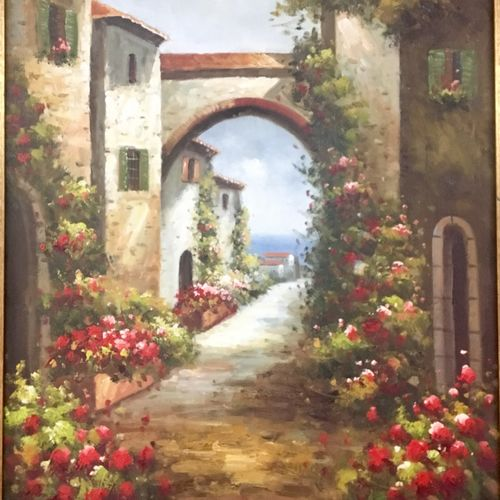 mediterranean paradise , 15 x 24 inch, tavishi kanoria,landscape paintings,paintings for bedroom,vertical,canvas,oil paint,15x24inch,GAL013964776