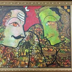 the mighty with their consort 2- shiva , 16 x 12 inch, tavishi kanoria,religious paintings,paintings for bedroom,canvas,mixed media,16x12inch,GAL013964778
