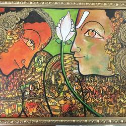 the mighty with their consort 3- vishnu , 16 x 12 inch, tavishi kanoria,religious paintings,paintings for bedroom,horizontal,canvas,mixed media,16x12inch,GAL013964779