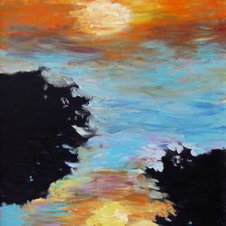 dawn and dusk , 23 x 34 inch, annie  ravi,impressionist paintings,paintings for living room,canvas,acrylic color,23x34inch,GAL016784781