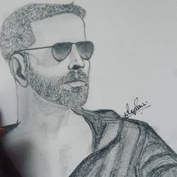 akshay kumar's sketch, 29 x 42 inch, kirandeep  saini,paintings for living room,portrait drawings,canson paper,,29x42inch,GAL016964783