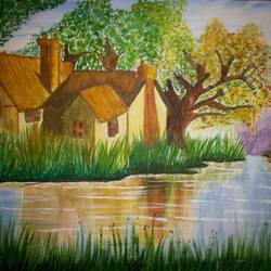 landscape, 42 x 29 inch, kirandeep  saini,landscape paintings,paintings for living room,nature paintings,canson paper,,42x29inch,GAL016964784Nature,environment,Beauty,scenery,greenery,trees,houses,water,peace