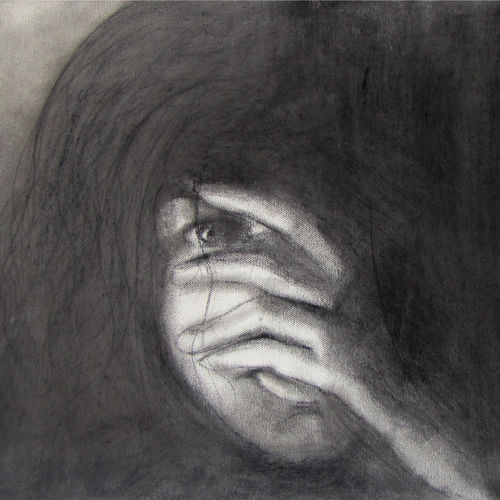 shame, 26 x 15 inch, annie  ravi,figurative drawings,paintings for living room,canvas,charcoal,26x15inch,GAL016784786