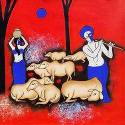 together 2, 30 x 25 inch, chetan katigar,figurative paintings,paintings for living room,canvas,mixed media,30x25inch,GAL02664791