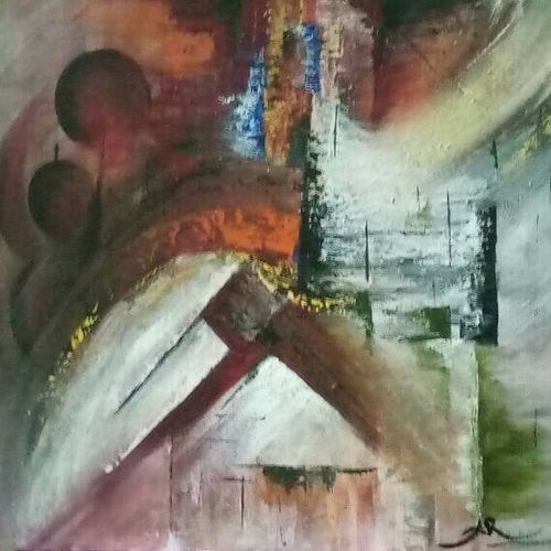 the lost greens, 20 x 16 inch, aneesa rani,abstract paintings,paintings for living room,canvas,acrylic color,20x16inch,GAL010684795