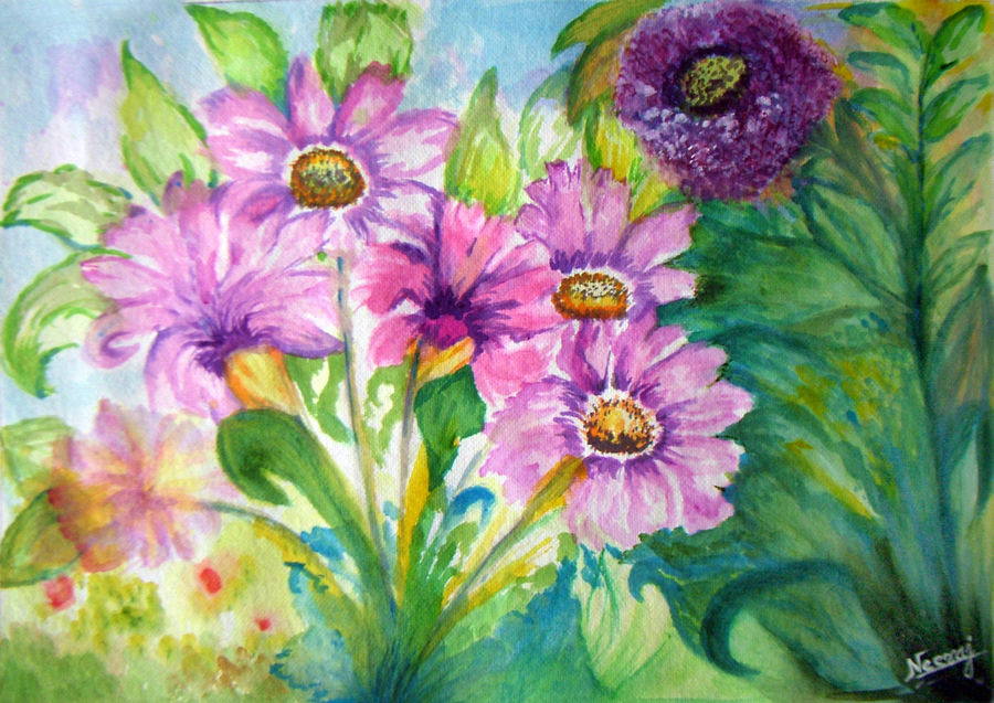 delicate breeze, 13 x 9 inch, neeraj parswal,flower paintings,paintings for living room,thick paper,watercolor,13x9inch,GAL094796