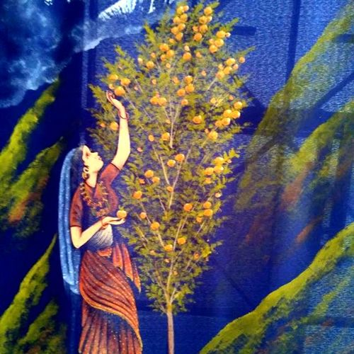 lady plucking fruits, 18 x 30 inch, k. srinivas rao,nature paintings,paintings for living room,cloth,fabric,18x30inch,GAL016914798Nature,environment,Beauty,scenery,greenery