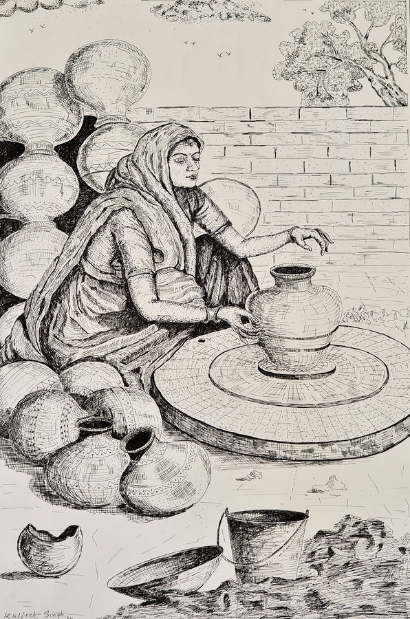 lady with pot , 12 x 20 inch, kuljeet singh,paintings for living room,figurative drawings,ivory sheet,pencil color,12x20inch,GAL0215480
