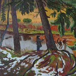early snow- a squirrel, 40 x 32 inch, moesey li,landscape paintings,paintings for living room,canvas,oil paint,40x32inch,GAL07184800