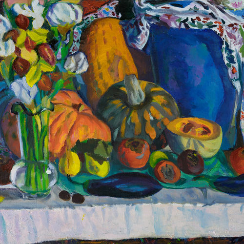 fruits and vegetables, 28 x 20 inch, moesey li,still life paintings,paintings for living room,paintings for dining room,canvas,oil paint,28x20inch,GAL07184801
