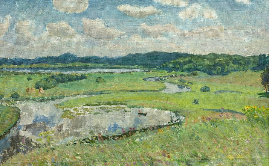 river sorot' and lake kuchane, 20 x 13 inch, moesey li,nature paintings,paintings for living room,canvas,oil paint,20x13inch,GAL07184802Nature,environment,Beauty,scenery,greenery
