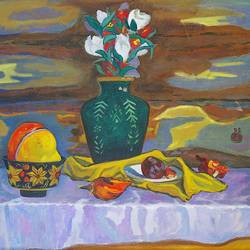 still life with a pumpkin , 28 x 24 inch, moesey li,still life paintings,paintings for living room,canvas,oil paint,28x24inch,GAL07184803