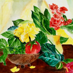 still life in water color, 20 x 12 inch, abhisek sarkar,still life paintings,paintings for living room,flower paintings,ivory sheet,watercolor,20x12inch,GAL017094806