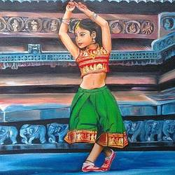 a little classical dancer portrait, 10 x 15 inch, rajeswari bhimana,realism paintings,paintings for living room,paintings for bedroom,canvas,oil,10x15inch,GAL017104809