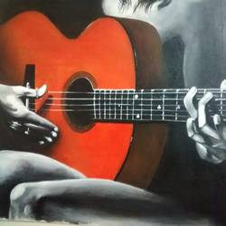 lady in dark playing guitar, 16 x 12 inch, rajeswari bhimana,conceptual paintings,paintings for living room,canvas,acrylic color,16x12inch,GAL017104812