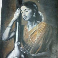 lady playing veena, 12 x 16 inch, rajeswari bhimana,portrait paintings,paintings for living room,brazilian paper,oil,12x16inch,GAL017104813