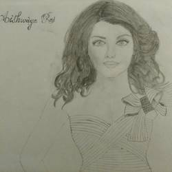 aishwarya rai, 11 x 8 inch, salini jeba angel,portrait drawings,paintings for dining room,portrait drawings,paper,graphite pencil,11x8inch,GAL017084814
