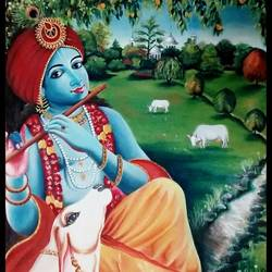 lord krishna in garden , 24 x 28 inch, rajeswari bhimana,radha krishna paintings,paintings for living room,paintings for bedroom,canvas,oil,24x28inch,krishna,flute,lordkrishna,music,religious,GAL017104818