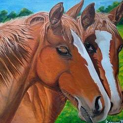horses in green, 12 x 10 inch, rajeswari bhimana,wildlife paintings,paintings for living room,canvas,oil,12x10inch,GAL017104819
