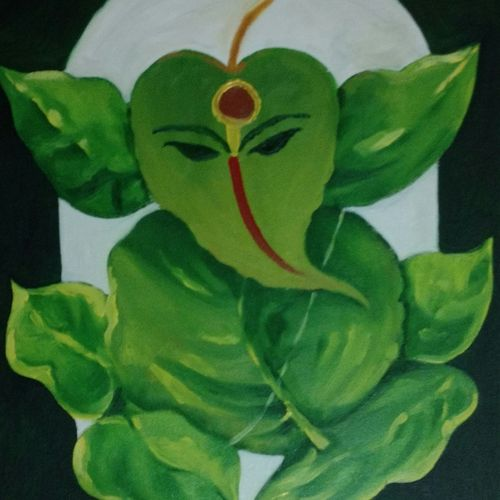 leaf ganpati, 24 x 30 inch, ankita bhanage,religious paintings,paintings for living room,canvas,oil,24x30inch,GAL0262482