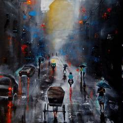 rainy day 6, 24 x 36 inch, arjun das,cityscape paintings,paintings for living room,canvas,acrylic color,24x36inch,GAL01124820